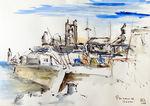 Zeichnung: Hafen von Penzance