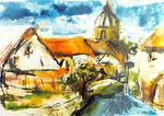 Zeichnung: Brandenburgisches Dorf