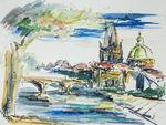 Zeichnung: Prag Moldau