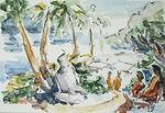 Zeichnung: Abschied von der Insel