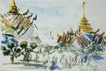 Zeichnung: Bangkok Königspalast