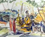Zeichnung: Tempel in Nordthailand